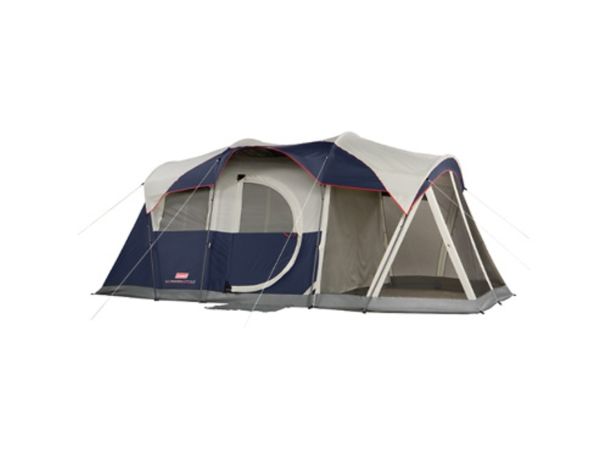 "Coleman Elite Weathermaster 6 Person Modified Dome Tent System 204"" x 108"" x 80"" Polyester Blue, White and Gray"