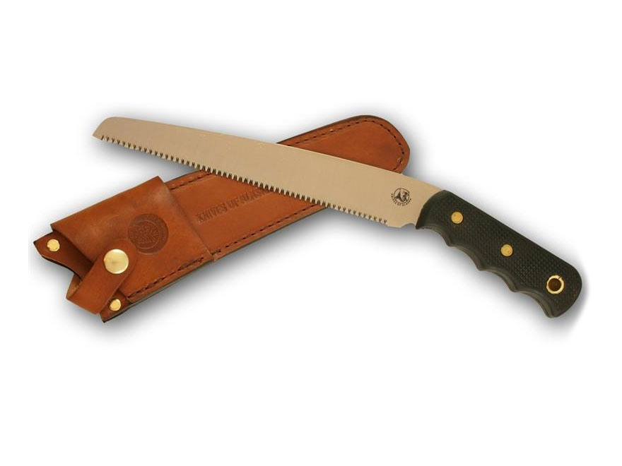 "Knives of Alaska Bone Saw Fixed Blade Saw 8"" SK5 Steel Blade SureGrip Handle Black"