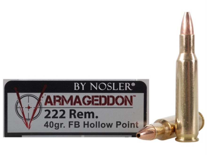 Nosler Varmageddon Ammunition 222 Remington 40 Grain Hollow Point Flat Base Box of 20