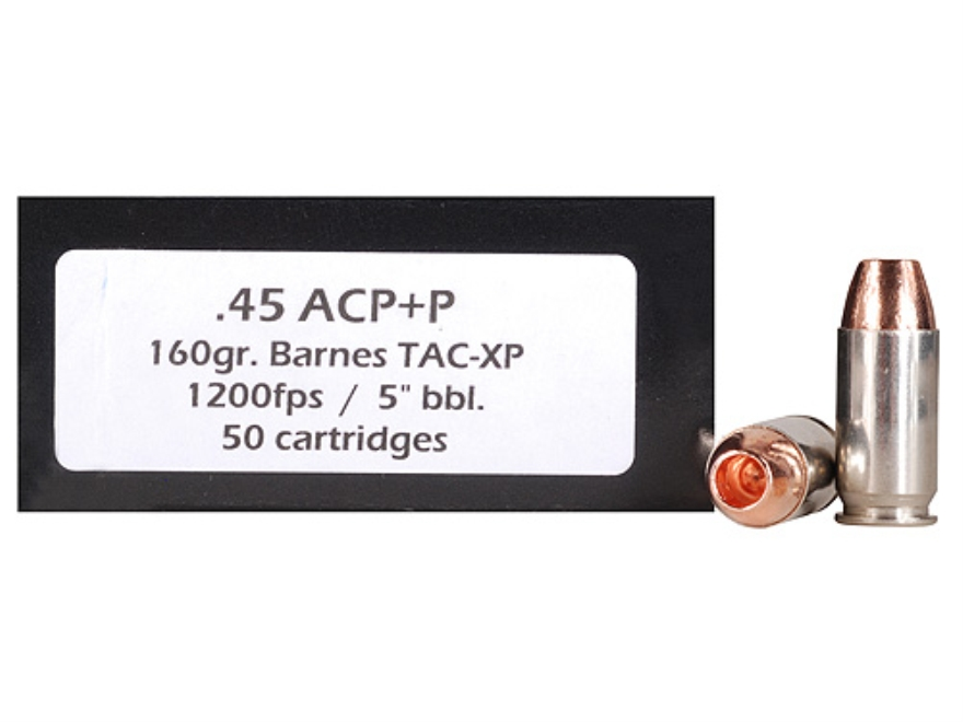 Doubletap Ammunition 45 ACP+P 160 Grain Barnes TAC-XP Hollow Point Lead-Free Box of 50
