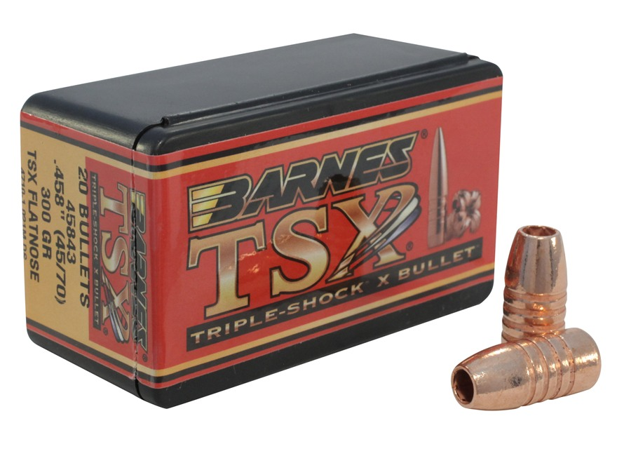 Barnes Triple-Shock X Bullets 45-70 Caliber (458 Diameter) 300 Grain Flat Nose Lead-Fre...