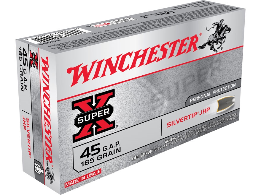 Winchester Super-X Ammunition 45 GAP 185 Grain Silvertip Hollow Point Box of 50