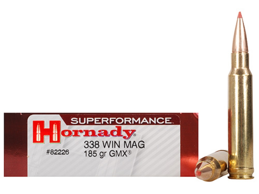 Hornady Superformance GMX Ammunition 338 Winchester Magnum 185 Grain GMX Boat Tail Lead-Free Box of 20