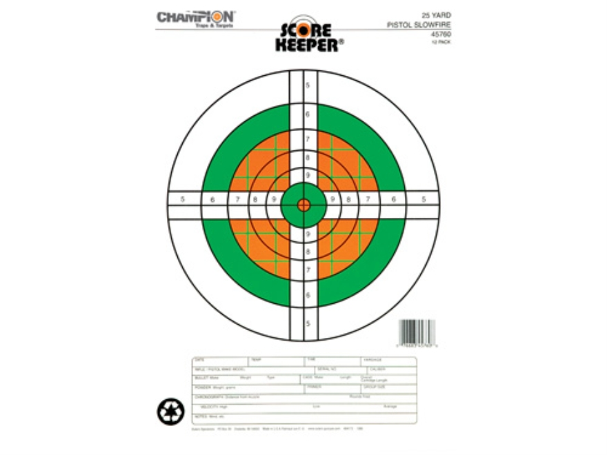 "Champion Score Keeper  25 Yard Slow Fire Pistol Targets 11"" x 16"" Paper Fluorescent Orange/Green Bull Pack of 12"