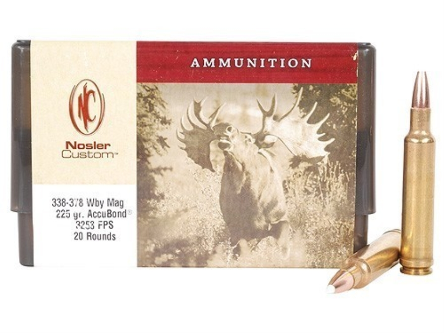 Nosler Custom Ammunition 338-378 Weatherby Magnum 225 Grain AccuBond Spitzer Box of 20