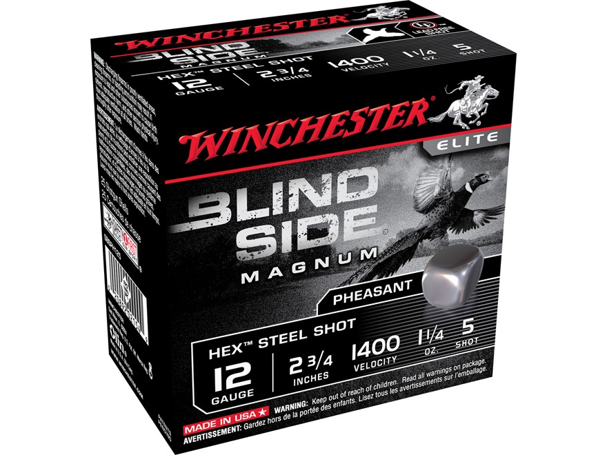 "Winchester Blind Side Pheasant Ammunition 12 Gauge 2-3/4"" 1-1/4 oz #5 Non-Toxic Steel Shot"