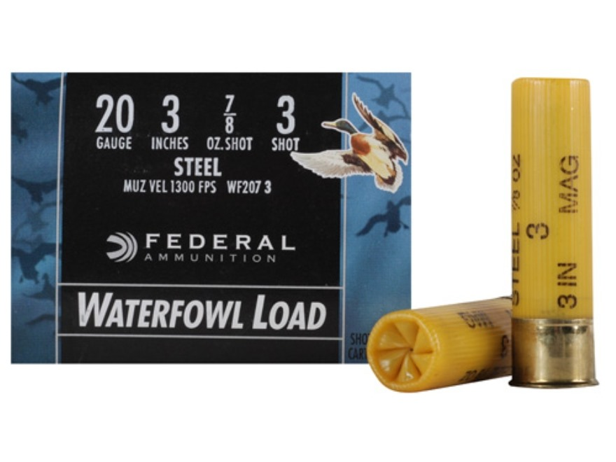 "Federal Speed-Shok Waterfowl Ammunition 20 Gauge 3"" 7/8 oz #3 Non-Toxic Steel Shot"