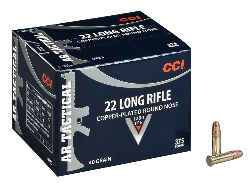CCI AR Tactical Rimfire Ammunition 22 Long Rifle 40 Grain Plated Round Nose Box of 375