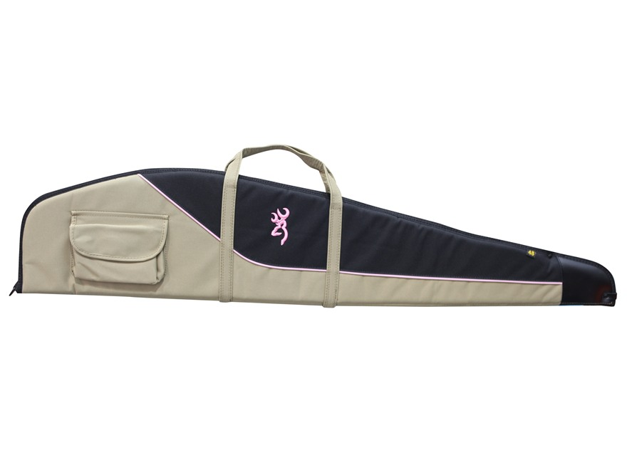"Browning Cimmaron For Her Scoped Rifle Case 48"" Canvas Taupe/Black with Pink Trim"