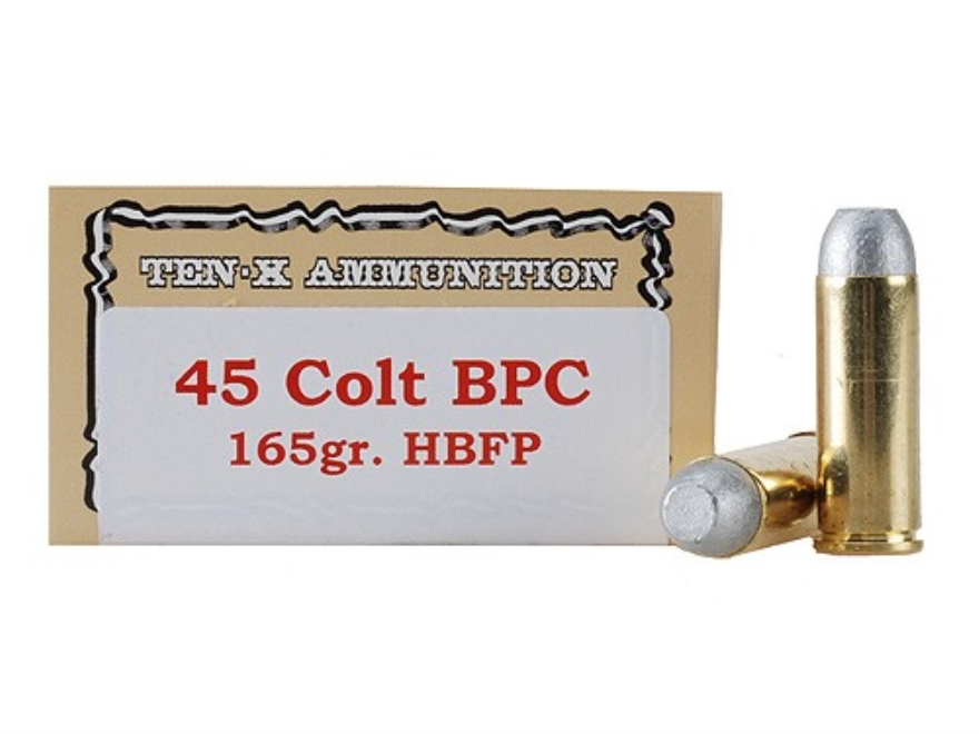 Ten-X Cowboy Ammunition 45 Colt (Long Colt) 165 Grain Lead Hollow Base Flat Point BPC Box of 50