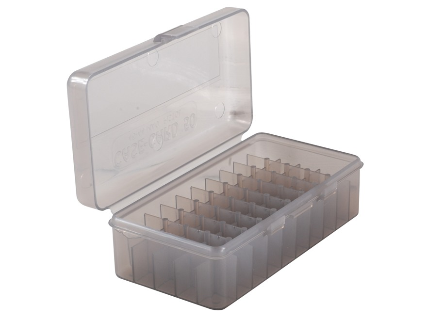 MTM Flip-Top Ammo Box Original 41 Remington Magnum, 44 Remington Magnum, 45 Colt (Long Colt) 50-Round Plastic Clear-Smoke