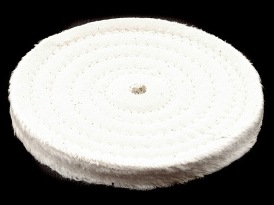 """Formax 6"""" Diameter 1/2"""" Thick Spiral Sewn Cotton Buffing and Polishing Wheel for 5/8"""" or 1/2"""" Arbor Hole"""