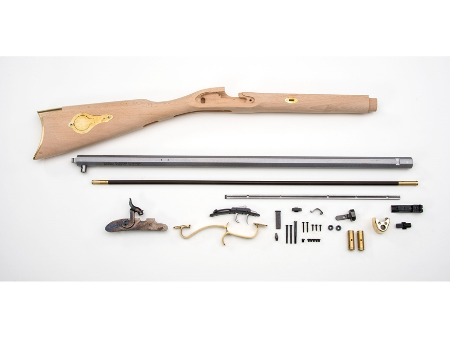 "Traditions St. Louis Hawken Muzzleloading Rifle Unassembled Kit 50 Caliber Percussion 1 in 48"" Twist 28"" Barrel in the White"