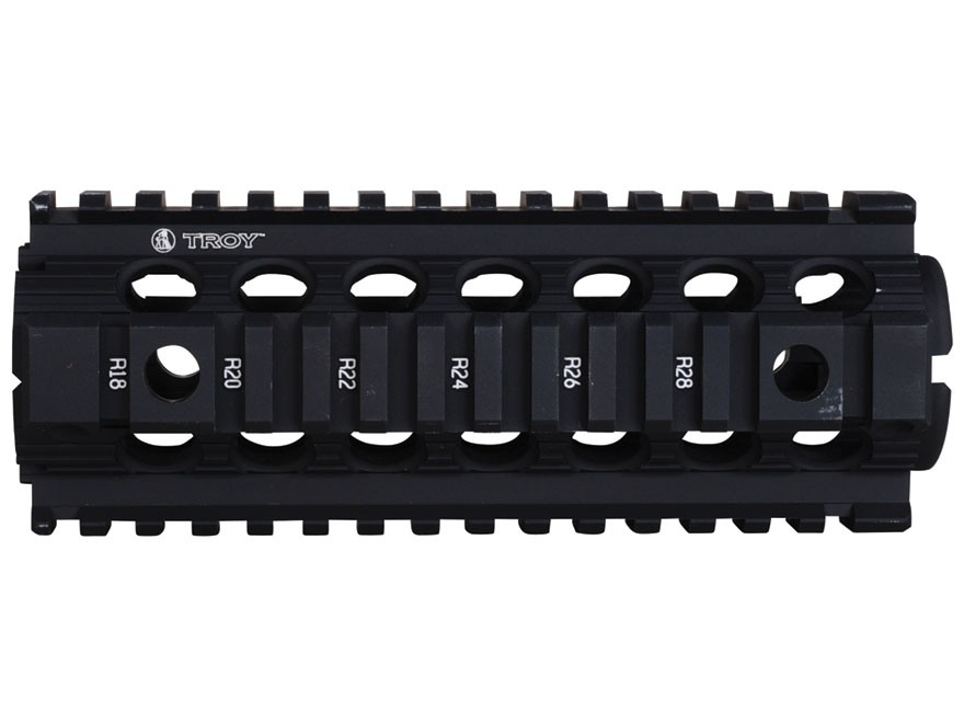 "Troy Industries 7"" MRF CAR/M4 Drop-In Battle Rail 2-Piece Quad Rail Handguard AR-15 Carbine Length Black"