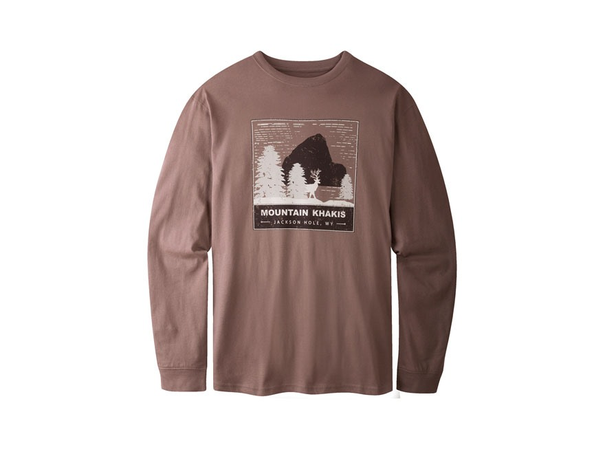 Mountain Khakis Men's Deer Peak T-Shirt Long Sleeve Organic Cotton Meteorite
