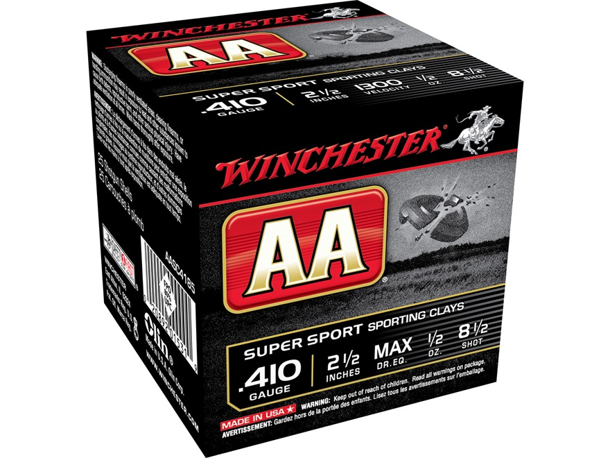 "Winchester AA Super Sport Sporting Clays Ammunition 410 Bore 2-1/2"" 1/2 oz #8-1/2 Shot"