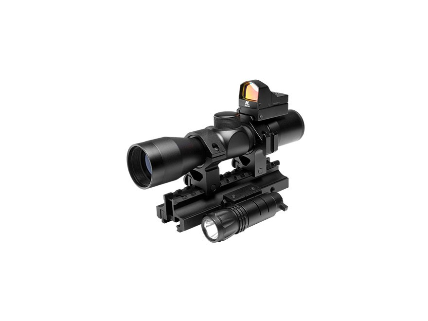 NcStar Tactical Triple Threat Combo 4x 30mm P4 Reticle Scope with Micro Red Dot Sight, Rings, AR-15 Tri-Rail Mount and Flashlight Matte
