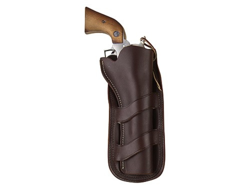 "Hunter 1093 Curved Loop Holster Colt Single Action Army, Ruger Blackhawk, Vaquero 7.5"" Barrel Leather Antique Brown"