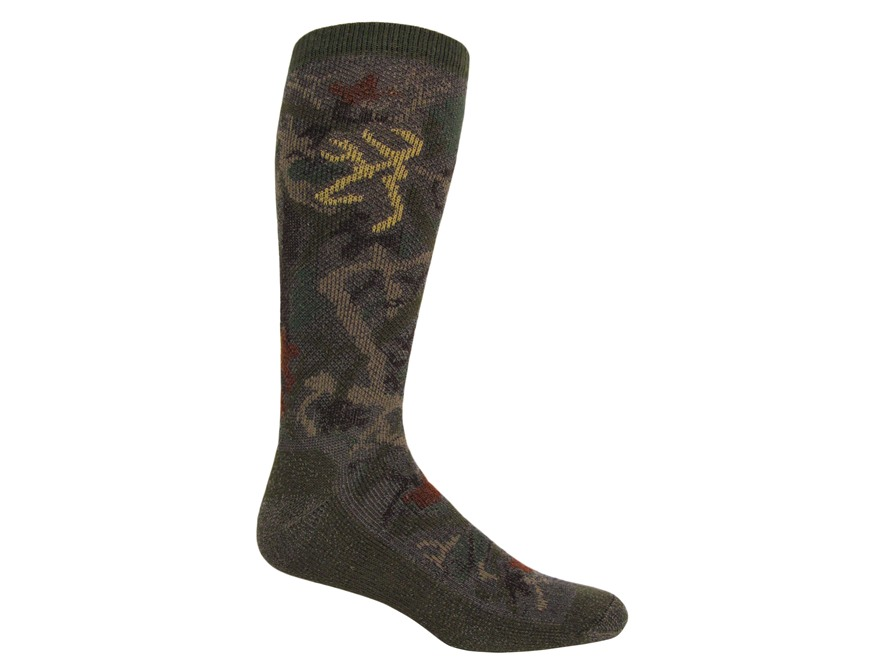 Browning Men's All Season Midweight Camo Socks Synthetic Blend Olive Camo Large 9-13