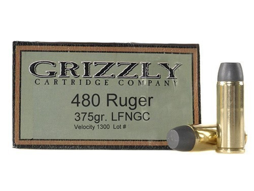 Grizzly Ammunition 480 Ruger 375 Grain Cast Performance Lead Long Flat Nose Gas Check Box of 20
