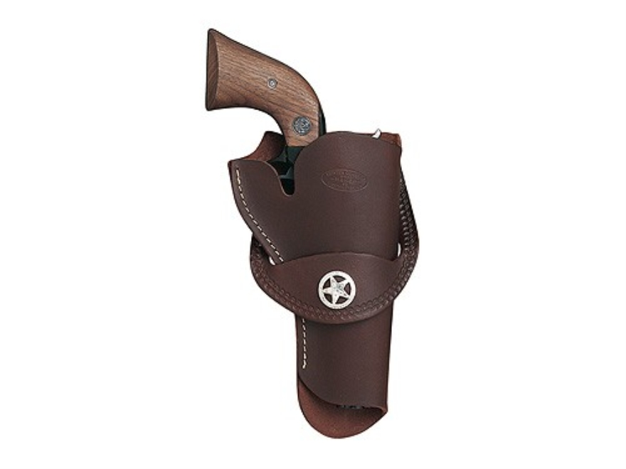 "Hunter 1090 Western Crossdraw Holster with Concho Right Hand Colt Single Action Army, Ruger Old Army, Blackhawk, Vaquero 4-.75"" to 5.5"" Barrel Leather Antique Brown"