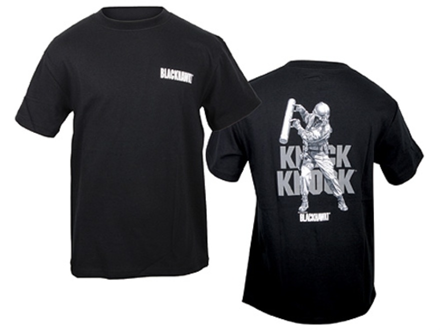 "BLACKHAWK! ""Knock Knock"" Short Sleeve T-Shirt Cotton Black XL (46"" to 48"")"