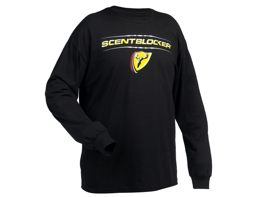 ScentBlocker Men's Logo T-Shirt Long Sleeve Cotton Black Large 42-44