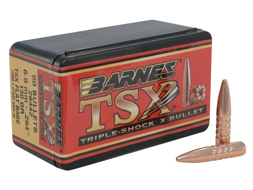 Barnes Triple-Shock X Bullets 264 Caliber, 6.5mm (264 Diameter) 130 Grain Hollow Point Flat Base Lead-Free Box of 50