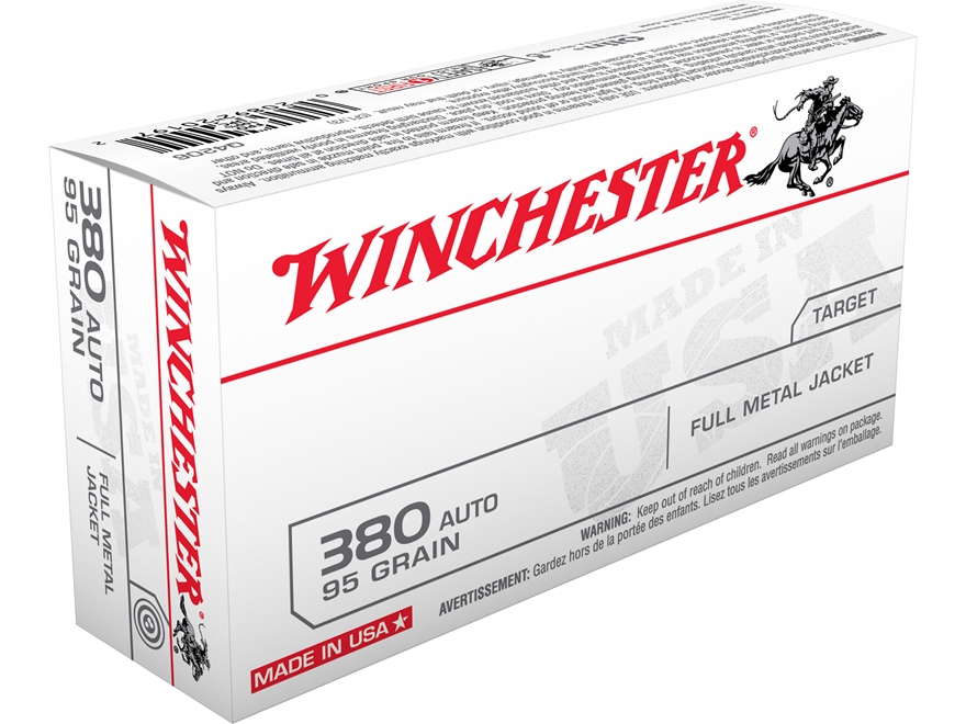 Winchester USA Ammunition 380 ACP 95 Grain Full Metal Jacket Box of 100