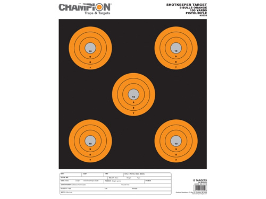 "Champion ShotKeeper 5 Large Bullseye Targets 11"" x 16"" Paper Black/Orange Bull Package of 12"