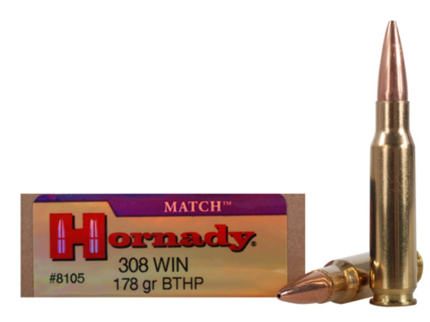 Hornady Match Ammunition 308 Winchester 178 Grain Hollow Point Boat Tail Box of 20