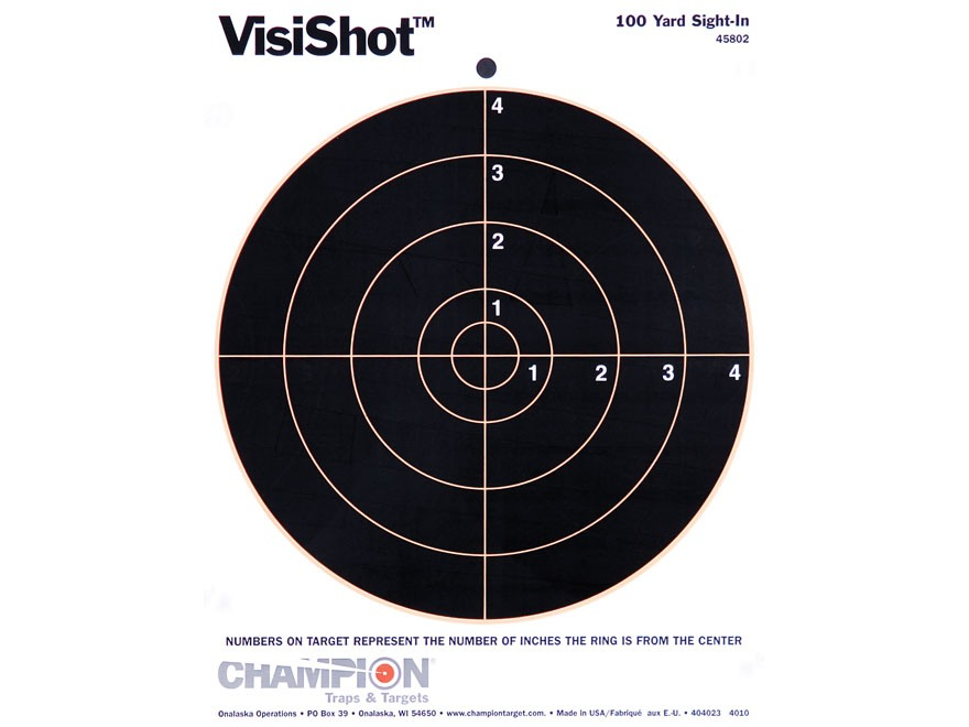"Champion VisiShot 8"" Bullseye Targets 8.5"" x 11"" Paper Package of 10"