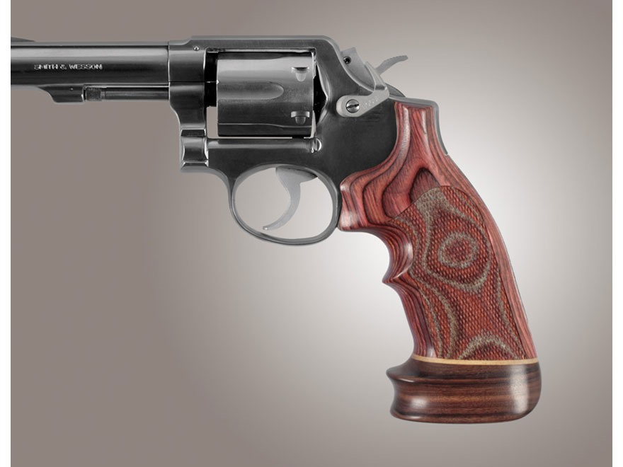 Hogue Fancy Hardwood Grips with Accent Stripe and Top Finger Groove S&W K, L-Frame Square Butt Oversize Checkered
