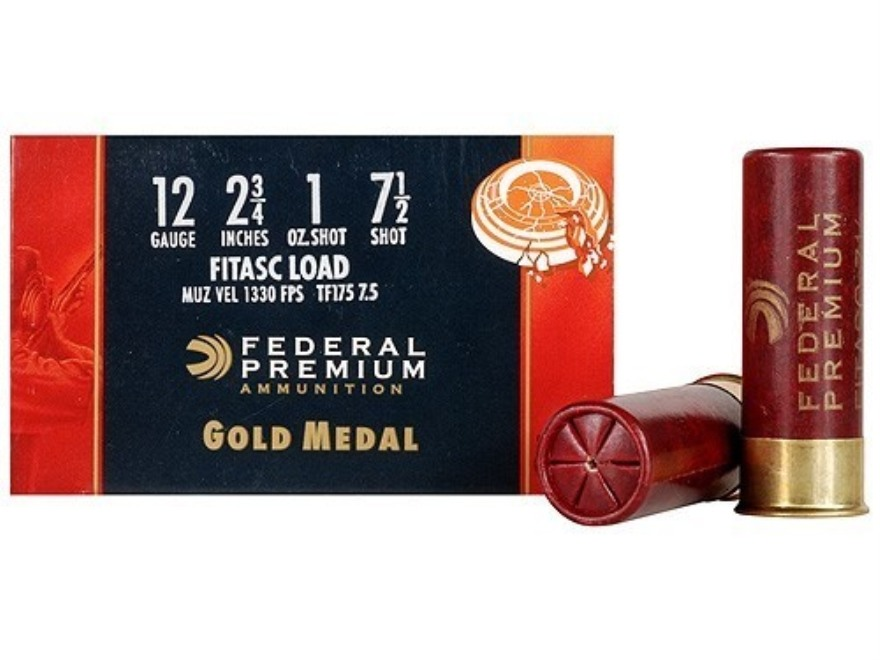 "Federal Premium Gold Medal Paper FITASC Ammunition 12 Gauge 2-3/4"" 1 oz #7-1/2 Shot Box..."
