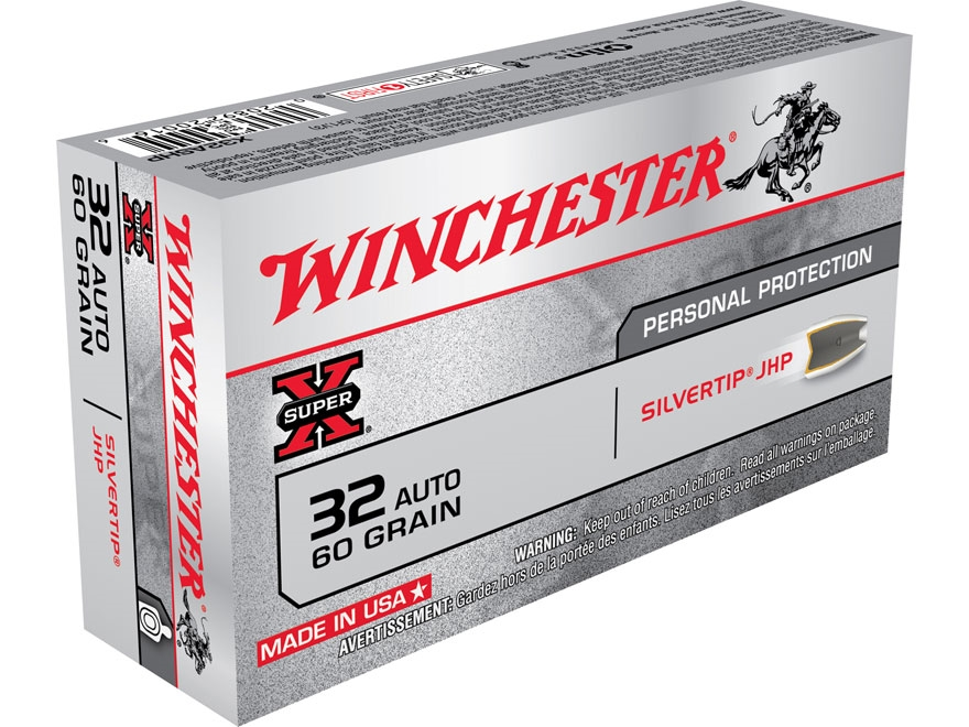 Winchester Super-X Ammunition 32 ACP 60 Grain Silvertip Hollow Point