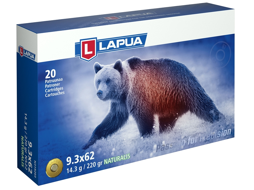 Lapua Naturalis Ammunition 9.3x62mm Mauser 220 Grain Round Nose Lead-Free Box of 20