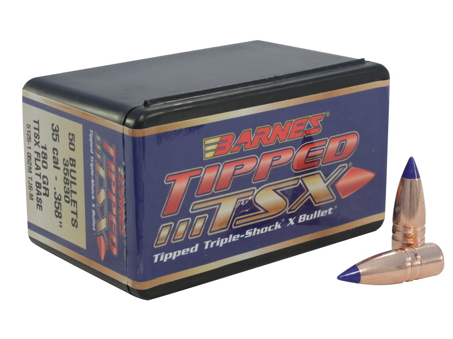 Barnes Tipped Triple-Shock X Bullets 35 Caliber (358 Diameter) 180 Grain Spitzer Flat Base Box of 50