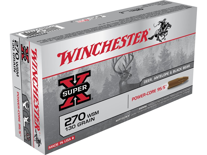 Winchester Super-X Power-Core 95/5 Ammunition 270 Winchester Short Magnum (WSM) 130 Grain Hollow Point Boat Tail Lead-Free