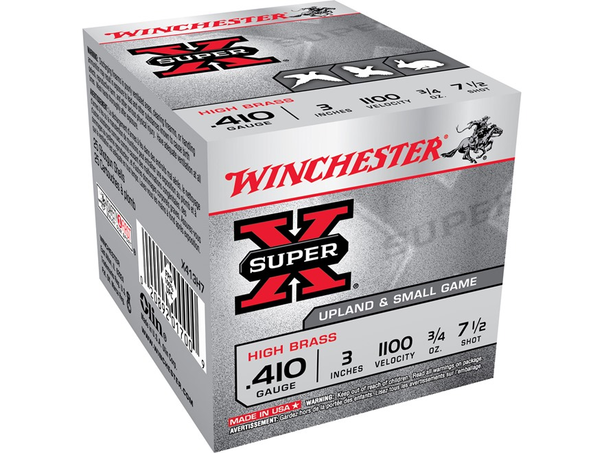 "Winchester Super-X High Brass Ammunition 410 Bore 3"" 3/4 oz #7-1/2 Shot"
