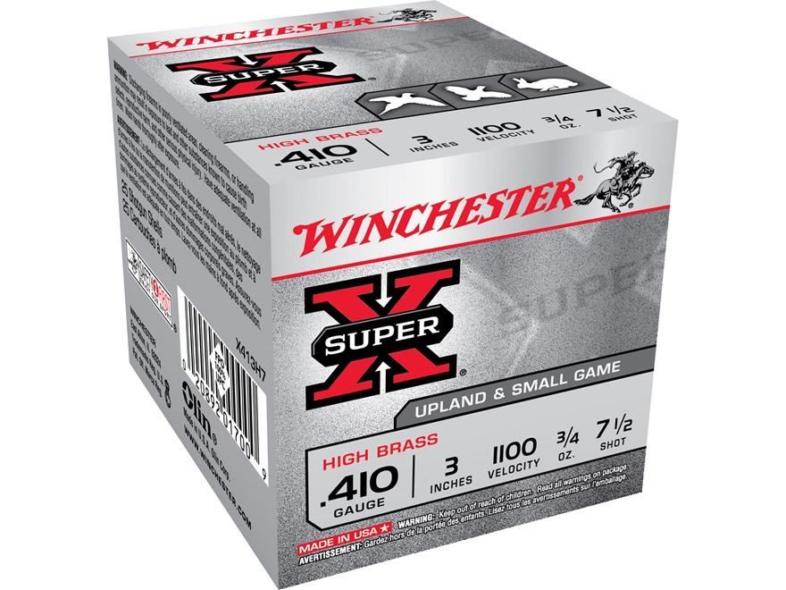 """Winchester Super-X High Brass Ammunition 410 Bore 3"""" 3/4 oz #7-1/2 Shot"""