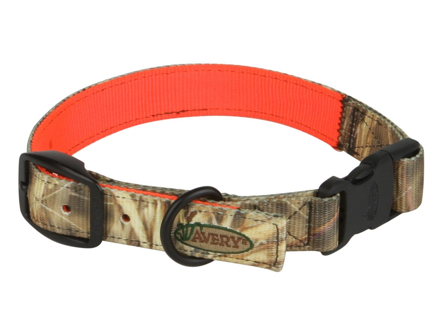 Avery reversible dog collar polyester camo and blaze orange