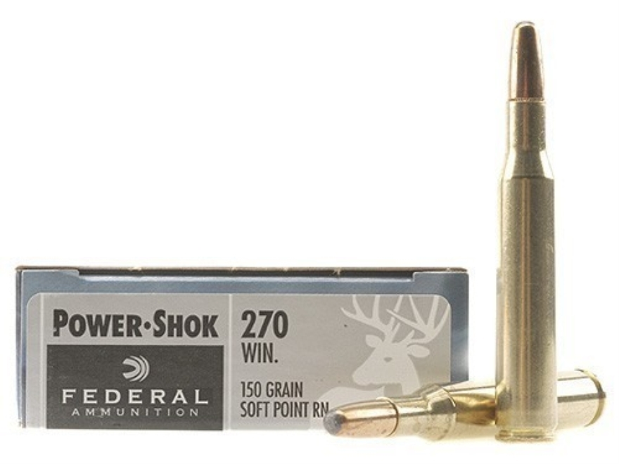 Federal Power-Shok Ammunition 270 Winchester 150 Grain Round Nose Soft Point Box of 20