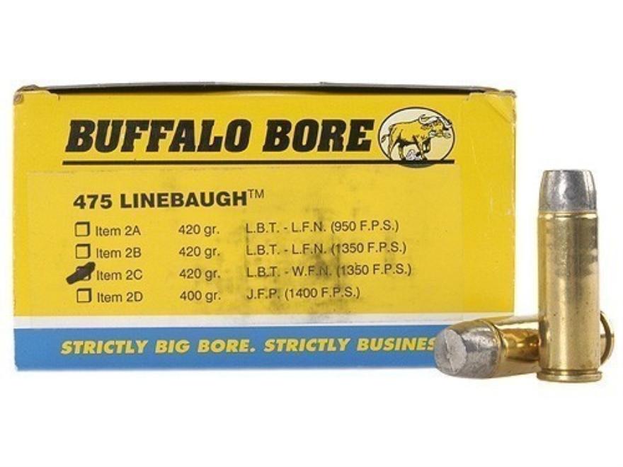 Buffalo Bore Ammunition 475 Linebaugh 420 Grain Lead Wide Flat Nose Box of 50