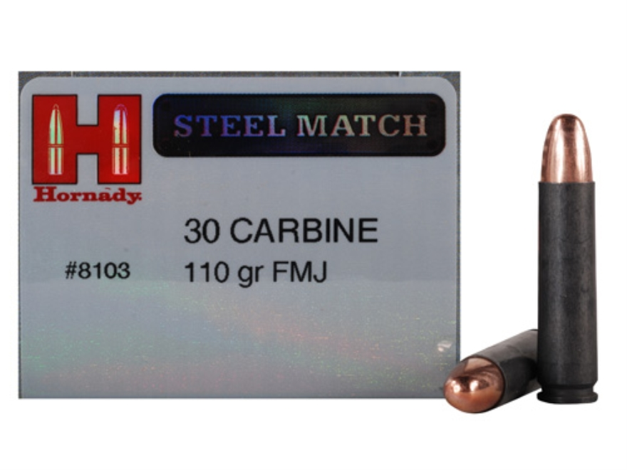 Hornady Steel Match Ammunition 30 Carbine 110 Grain Full Metal Jacket Steel Case Box of 50
