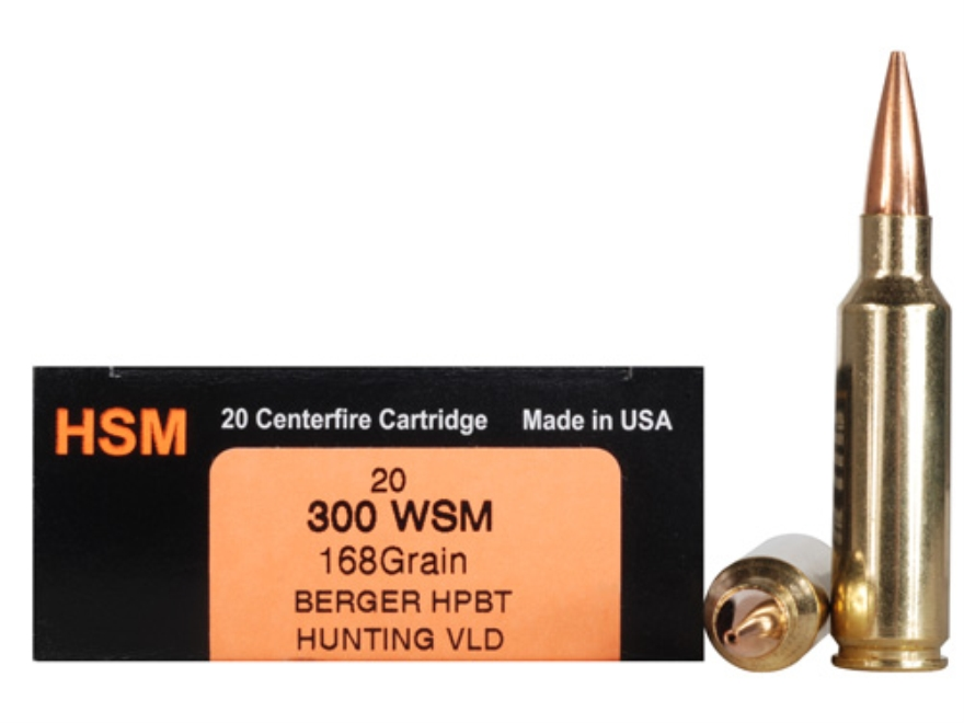 HSM Trophy Gold Ammunition 300 Winchester Short Magnum (WSM) 168 Grain Berger Hunting VLD Hollow Point Boat Tail Box of 20