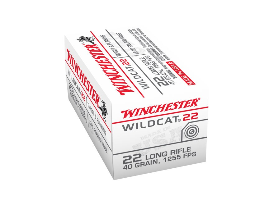 Winchester Wildcat Ammunition 22 Long Rifle 40 Grain Lead Round Nose