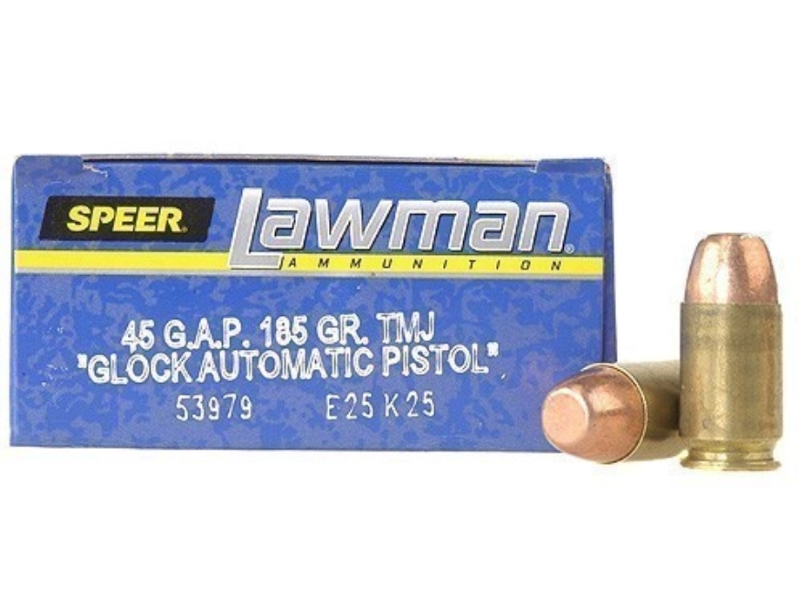 Speer Lawman Ammunition 45 GAP 185 Grain Total Metal Jacket Box of 50