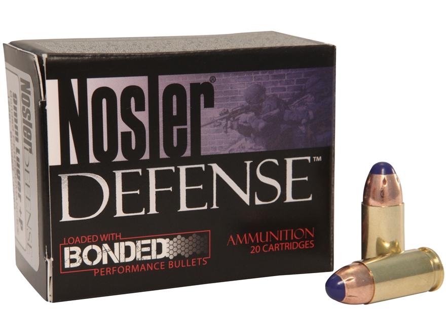 Nosler Defense Ammunition 9mm Luger +P 124 Grain Bonded Tipped Box of 20