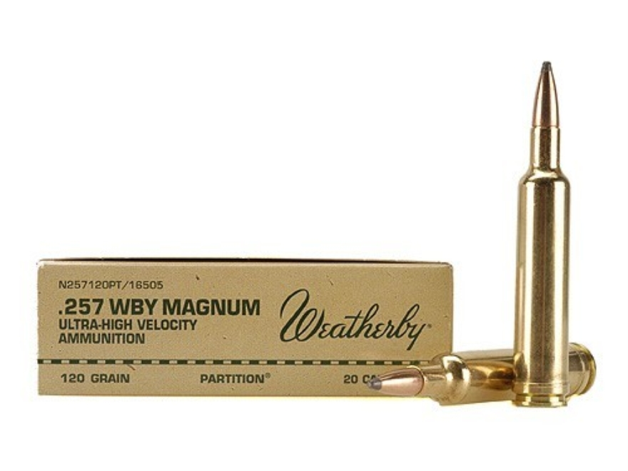 Weatherby Ammunition 257 Weatherby Magnum 120 Grain Nosler Partition Box of 20