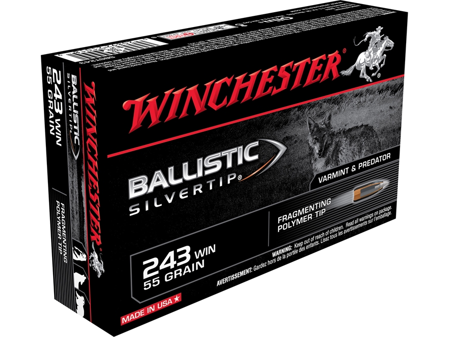 Winchester Ammunition 243 Winchester 55 Grain Ballistic Silvertip Box of 20
